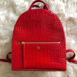 Tory Burch Croc-Embossed Mini Leather Backpack 🎒